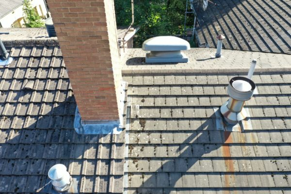 Drone - Roof / Roofing Inspection - Dilapidation - Gutter / Guttering - Chimney Stack - Broken Tiles / Slates - drone roof survey cost uk